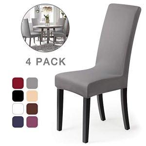 Housse de chaise Décor 4 pièces housse de chaise Stretch-Housse Couverture de chaise de matériau spandex avec bande élastique pour un ajustement universel, couvercle extensible Lycra, très facile à nettoyer et durable (Paquet de 4, Gris)