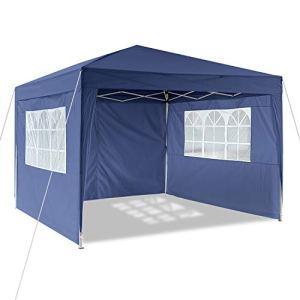 Profun Tonnelle Jardin Pavillon 3x3m/3x6m Tente Abri Pergola Pliante avec Parois Latérales et Fenêtres pour Les Parties Evénements Mariage dans Le Jardin Patio Extérieur (3×3 m, Bleu)