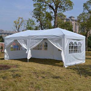Profun Tonnelle Jardin Pavillon 3x3m/3x6m Tente Abri Pergola Pliante avec Parois Latérales et Fenêtres pour Les Parties Evénements Mariage dans Le Jardin Patio Extérieur (3x6m, Blanc)