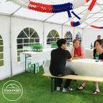 Tente Barnum de Réception 5×10 m ignifugee PREMIUM Bâches Amovibles PVC 500 g/m² blanc Cadre de Sol Jardin INTENT24