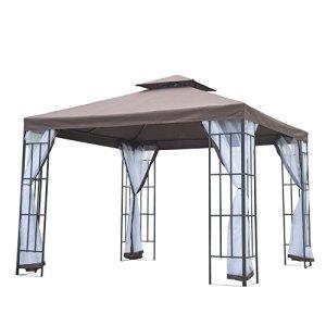 Tonnelle barnum style colonial double toit toile moustiquaires amovibles 3 x 3 x 2,7 m chocolat et blanc neuf 53
