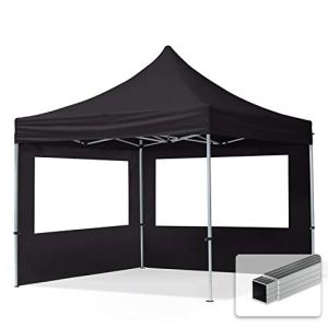 TOOLPORT Tente Pliante 3×3 m – 2 côtés Aluminium Barnum Chapiteau Pliant Tonnelle Stand Paddock Réception Abri Noir