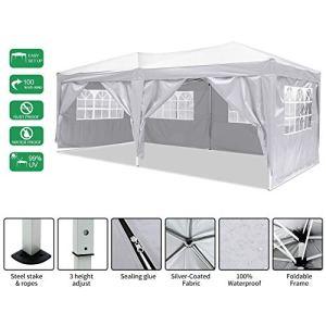 Jackbobo 3x3m/3x6m Gazebo Tente pavillon de Jardin étanche Tente de fête Tente de Jardin Pliable Festival (3x6m_Blanc)