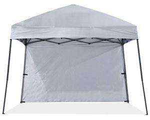 ABCCANOPY 10 x 10 auvents de tente pop-up commercial instantané Abri portable ombrage tente d'extérieur avec sac de transport à roulettes bonus 4 sacs de poids, 4 cordes et 4 piquets Gris beige