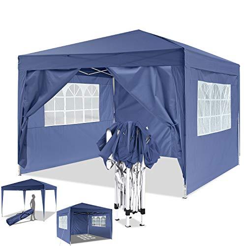Eloklem Jardin étanche Tonnelle Tente de Reception Pliante pavillon 3 x 3m Camping Pavillon Gazebo avec 4 côtés (3 x 3 m, A_Bleu)