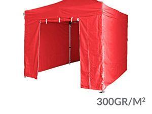 GREADEN Pack 4 CÔTÉS – 3 Murs Pleins avec Une Porte 300G/M2 Polyester ENDUCTION PVC 3X3M Gamme 40MM (Rouge)