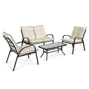 ikayaa Ensemble canapé de jardin rembourrés chaises meubles de jardin patio Table Fashion chaises Set de conversation Steel Frame 4pièces