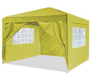 Oppikle Tonnelle Pliante imperméable 3x3m/3x6m Tonnelle de Jardin Gazebo Pliable Pavillon de Jardin Tente de Reception pour Jardin fête, Protection UV (3 * 3M, Gold)