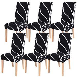 SearchI Housses de chaises Universel 6 pièces, Amovible et Lavable,étirable Housses de la chaises pour Le Salle à Manger Maison Modern Bouquet de la Mariage, Hôtel, Decor Restaurant (Noir/Branche)