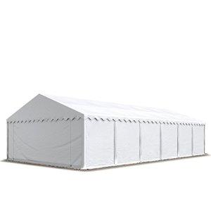 TOOLPORT Abri Tente de Stockage 6 x 12 m, Cadre de Sol, bâches en PVC env. 500 g/m² 100% imperméable, Blanc