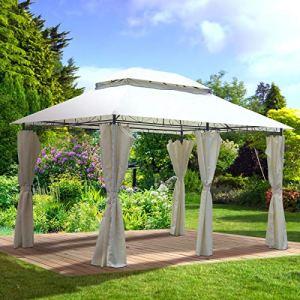 BRAST Pavillon de Jardin 3×4 Easiness 2,65 H Beige, étanche/imperméable, très Stable, 100% Acier revêtu de PA – pavillon de Jardin 3x4m