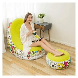 Coussin Monobloc Canapé Gonflable Canapé Gonflable Canapé de Plein air avec pédale avec pédale Chaise de Chaise de canapé Simple de Chaise de canapé Unique Canapé Gonflable (Color : Yellow)