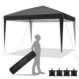 Hikole Tente 3×3 Tonnelle Pliante imperméable Gazebo 3x3m Tonnelle de Jardin Tente de Reception avec 4 Sacs de Poids