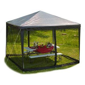 Relaxdays Moustiquaire pour tonnelle de 3 x 3 m 2 Parties latérales avec Fermeture Éclair et Bande Velcro Noir Taille XL 12 m