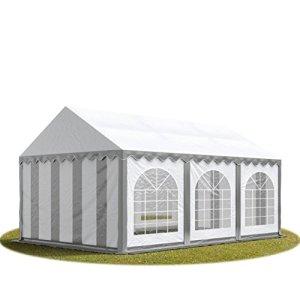 TOOLPORT Tente Barnum de Réception 3×6 m ignifugee Bâches PVC env. 500g/m² Gris-Blanc Cadre de Sol Jardin