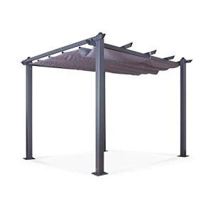 Avril Paris Tonnelle/Pergola Aluminium 3x3m Toile coulissante rétractable – Gris Anthracite – Hero