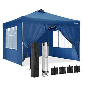 Cobizi Tonnelle 3x3m Tente Pliante imperméable Tonnelle de Jardin Gazebo Pliable Pavillon de Jardin Tente de Reception avec Purgeur d'air, 4 Côtés, 4 Sacs de Poids (3 x 3 M, Bleu)