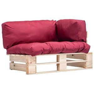 FAMIROSA Canapé de Jardin Palette avec Coussins Rouge Pinède7481
