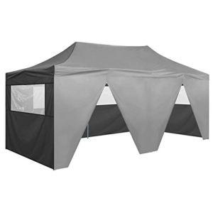 FAMIROSA Tente de Réception Pliable avec 4 Parois 3×6 m Acier Anthracite8867