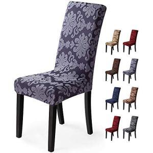 Housse de chaise 4 pièces Housse de Salle à Manger Jacquard Pattern Couverture de chaise de Amovible Lavable Housse de Protection très Facile à Nettoyer et Durable (Paquet de 4 ,Jacquard -Gris Fumé)