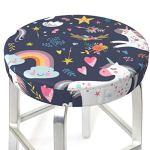 Housses de tabouret de bar rondes de 30,5 à 35,6 cm de couleur plumes claires, housse de chaise lavable en mousse à mémoire de forme rembourrée avec dos antidérapant et bande élastique
