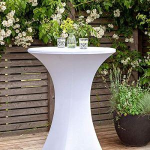 Namvo Housse de table extensible pour table de bistrot – Dimensions : env. 70 x 110 cm – Pour fêtes et événements en plein air – Blanc