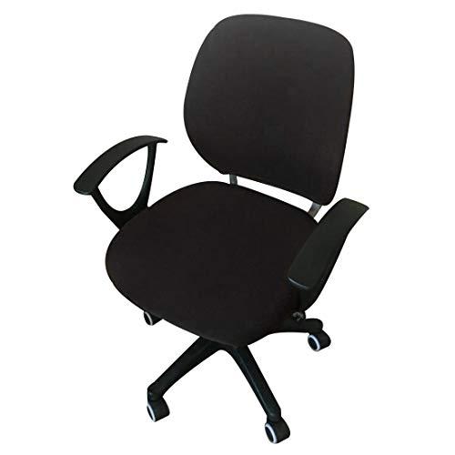 Pinji Housse de Chaise de Bureau Housse de Fauteuil Rotatif Extensible Amovible Housse de Chaise Séparée Universelle Noir