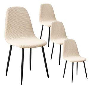 IVYSHION Housse de Chaise de Salle à Manger Scandinaves Housse de Chaise Extensible Jacquard Couverture de Chaise 4 Pieces Beige