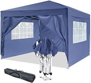 Oppikle Tonnelle Pliante imperméable 3x3m/3x6m Tonnelle de Jardin Gazebo Pliable Pavillon de Jardin Tente de Reception pour Jardin fête, Protection UV (3x3m Bleu)