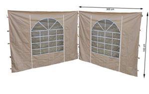 Quick-Star Lot de 2 Panneaux latéraux en PVC pour tonnelle Sahara Sable 3 x 3 m 300 x 195 cm