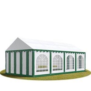 TOOLPORT Tente Barnum de Réception 4×8 m Bâches PVC env. 500g/m² Vert-Blanc Cadre de Sol Jardin