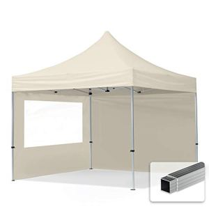 TOOLPORT Tente Pliante 3×3 m – 2 côtés Aluminium Barnum Chapiteau Pliant Tonnelle Stand Paddock Réception Abri PES300 crème