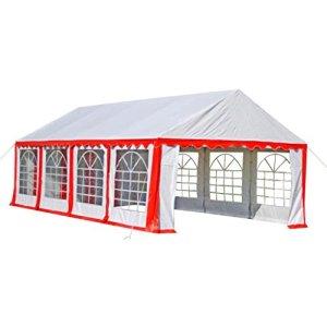 Zora Walter Tente de fête Rouge/Blanc 8 x 4 m Tente de Jardin imperméable avec 8 parois latérales en Fer.