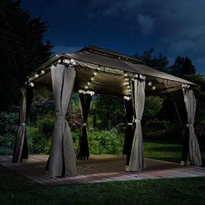 BRAST Tonnelle de Jardin 3×4 Easiness 2,65 H Anthracite + LEDs + moustiquaire, étanche/imperméable, très Stable, 100% Acier revêtu de PA – pavillon de Jardin 3x4m