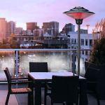 Chauffage électrique de terrasse à poser ou à suspendre   1500-2000 W   Protection contre les projections d'eau (pied de parasol chauffant Ø 50 cm 2 niveaux de chauffage)