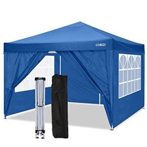 COBIZI Tonnelle Pliante Imperméable 3x3m Tonnelle de Jardin Gazebo Pliable Pavillon de Jardin Tente de Reception avec 4 Côtés, pour Jardin fête, Protection UV(Bleu)