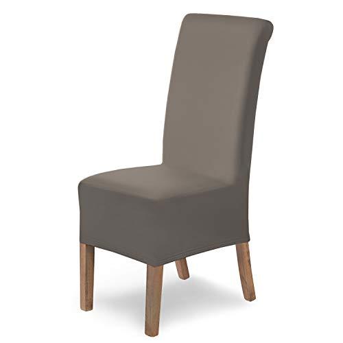 Housses de chaises SCHEFFLER-Home Lena 6 Set, élastiques Couverture Stretch, Couvre revêtement de Chaise, Taupe