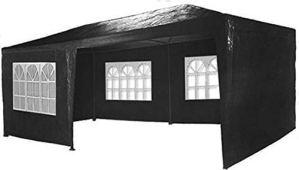 MaxxGarden Marquee 3x6m – Protection UV50+ – Hydrofuge – 18m² – pavillon, Tente de Jardin, chapiteau ou tonnelle du Festival – 6 parois latérales enroulables – 18 fenêtres – Noir