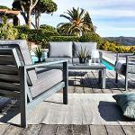 Meubletmoi Canapé de Jardin 2 Places en Aluminium Gris décor Bois avec Coussins Gris – VESUVE 7440