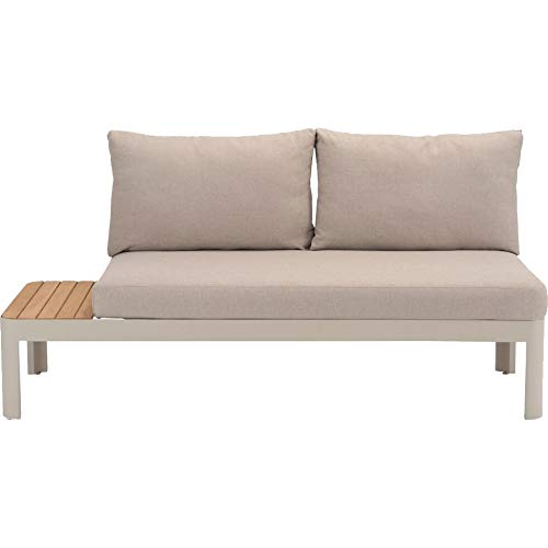 Meubletmoi Canapé de Jardin modulable en Aluminium et Teck avec Coussins Beige – Style Lounge – Tropez 4676