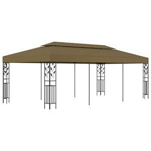Tidyard Chapiteau Pliable Gazebo Pliant Tente de Réception Barbecues Pique-niques 6×3 m Taupe 180 g/m²