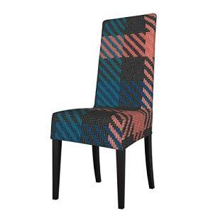 Uliykon Housse de chaise de salle à manger extensible, motif écossais noir pêche et bleu sarcelle, élasthanne élastique, amovible et lavable pour salle à manger, cuisine, hôtel, cérémonie, fête