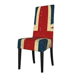 Uliykon Housse de chaise de salle à manger extensible, motif Union Jack vintage en élasthanne délavé élastique, amovible et lavable pour salle à manger, cuisine, hôtel, cérémonie, fête