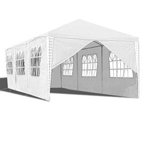 wolketon Tonnelle avec 6 fenêtres et 1 Porte avec Fermeture Éclair 3 x 9 m Blanc