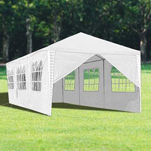 wolketon Tonnelle de Jardin 3x9m Tente de Jardin Chapiteau Imperméable Gazebo Pavillon pour Exterieur, Pavillon Protection UV Tonnelle de jarden avec 8 Parois Latérales