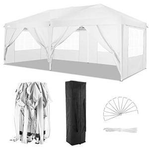 COBIZI Tonnelle Tente 3x6m Pliant Tonnelle de Jardin, étanche Pavillon Tente de réception pour Exterieur, avec 6 Parois Latérales, Protection UV, Réglable en Hauteur, Tente de Jardin 3x6m (Blanc)