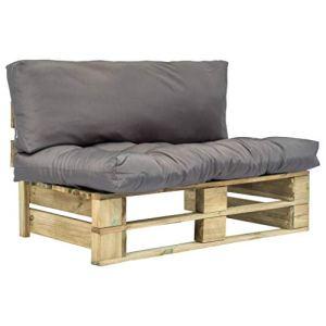 FAMIROSA Canapé de Jardin Palette avec Coussins Gris Pinède-5285