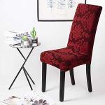 Housse de chaise 6 pièces Housse de Salle à Manger Jacquard Pattern Couverture de chaise de Amovible Lavable Housse de Protection très Facile à Nettoyer et Durable (Paquet de 6, Jacquard -Rouge)