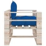 Ksodgun Canapé de Jardin en Palette Coussins en Bois de pin avec Coussin de Dossier Poufs de Jardin en Bois de pin, 80 x 67,5 x 62 cm, Bleu