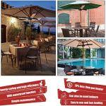 Parasol chauffant électrique pour terrasse – Chauffage infrarouge électrique pliable – Avec 3 panneaux chauffants – Pour pergola ou gazabo – Pour une fête en plein air